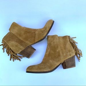 Coconuts suede fringe bootie size 8.5